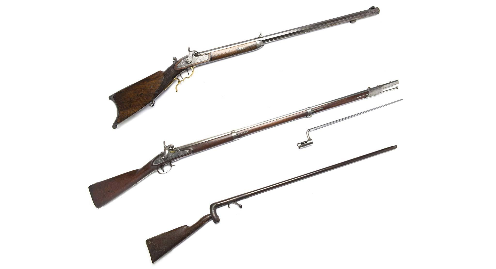 "(From top to bottom) Target rifle: American, c. 1855; Springfield Model 1816 musket c. 1834; Cane (or ""poacher's"") gun with removable stock, c. 1827"